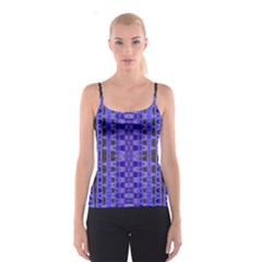 Blue Black Geometric Pattern Spaghetti Strap Top