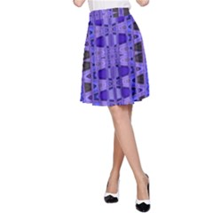 Blue Black Geometric Pattern A-Line Skirt