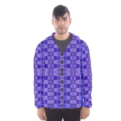 Blue Black Geometric Pattern Hooded Wind Breaker (Men)