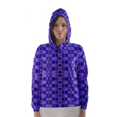 Blue Black Geometric Pattern Hooded Wind Breaker (Women)