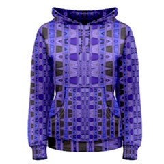 Blue Black Geometric Pattern Women s Pullover Hoodie