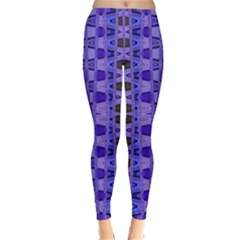 Blue Black Geometric Pattern Winter Leggings