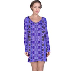 Blue Black Geometric Pattern Long Sleeve Nightdress