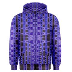 Blue Black Geometric Pattern Men s Zipper Hoodie