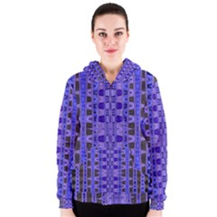 Blue Black Geometric Pattern Women s Zipper Hoodie