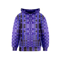 Blue Black Geometric Pattern Kids  Zipper Hoodie