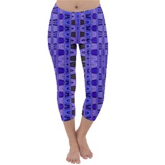 Blue Black Geometric Pattern Capri Winter Leggings