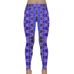 Blue Black Geometric Pattern Yoga Leggings
