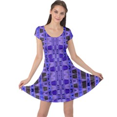 Blue Black Geometric Pattern Cap Sleeve Dresses