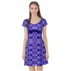 Blue Black Geometric Pattern Short Sleeve Skater Dress