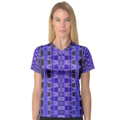 Blue Black Geometric Pattern Women s V-Neck Sport Mesh Tee