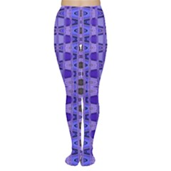 Blue Black Geometric Pattern Women s Tights