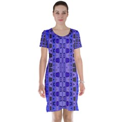 Blue Black Geometric Pattern Short Sleeve Nightdress