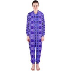 Blue Black Geometric Pattern Hooded Jumpsuit (Ladies)