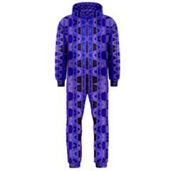 Blue Black Geometric Pattern Hooded Jumpsuit (Men)