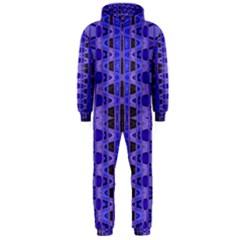 Blue Black Geometric Pattern Hooded Jumpsuit (men)  by BrightVibesDesign