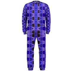 Blue Black Geometric Pattern OnePiece Jumpsuit (Men)
