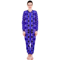 Blue Black Geometric Pattern Onepiece Jumpsuit (ladies)