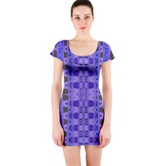 Blue Black Geometric Pattern Short Sleeve Bodycon Dress
