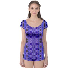 Blue Black Geometric Pattern Boyleg Leotard (Ladies)