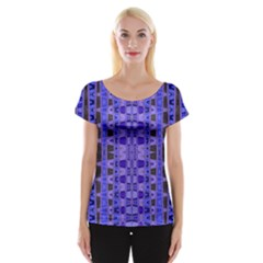 Blue Black Geometric Pattern Women s Cap Sleeve Top