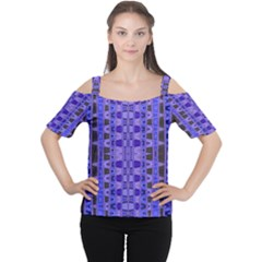Blue Black Geometric Pattern Women s Cutout Shoulder Tee