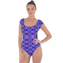 Blue Black Geometric Pattern Short Sleeve Leotard (Ladies)