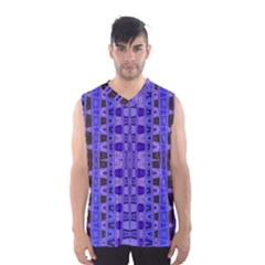 Blue Black Geometric Pattern Men s Basketball Tank Top