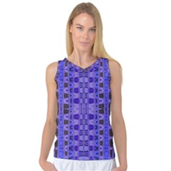 Blue Black Geometric Pattern Women s Basketball Tank Top