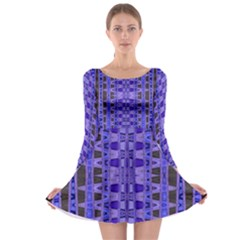 Blue Black Geometric Pattern Long Sleeve Skater Dress