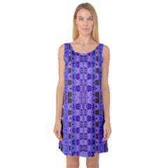 Blue Black Geometric Pattern Sleeveless Satin Nightdress