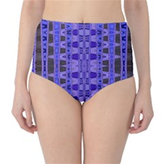 Blue Black Geometric Pattern High-Waist Bikini Bottoms