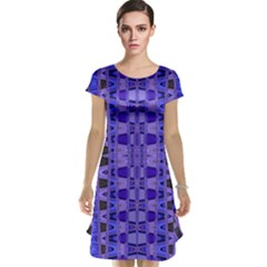 Blue Black Geometric Pattern Cap Sleeve Nightdress