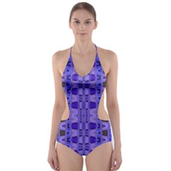 Blue Black Geometric Pattern Cut-Out One Piece Swimsuit
