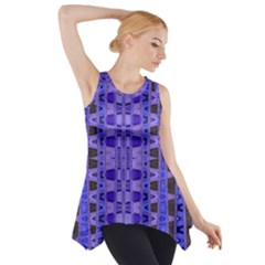 Blue Black Geometric Pattern Side Drop Tank Tunic
