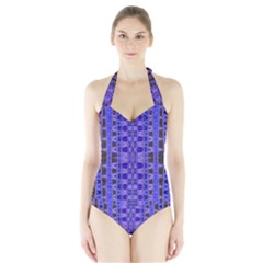 Blue Black Geometric Pattern Women s Halter One Piece Swimsuit