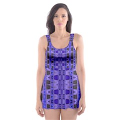 Blue Black Geometric Pattern Skater Dress Swimsuit