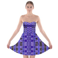 Blue Black Geometric Pattern Strapless Dresses
