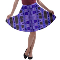 Blue Black Geometric Pattern A-line Skater Skirt