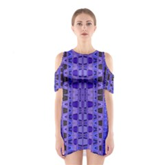 Blue Black Geometric Pattern Cutout Shoulder Dress