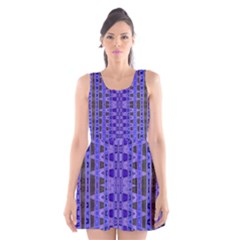 Blue Black Geometric Pattern Scoop Neck Skater Dress