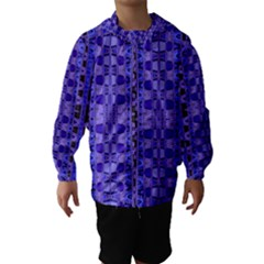Blue Black Geometric Pattern Hooded Wind Breaker (kids)