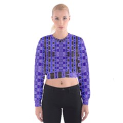 Blue Black Geometric Pattern Women s Cropped Sweatshirt