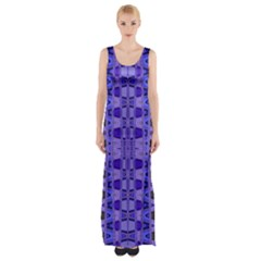 Blue Black Geometric Pattern Maxi Thigh Split Dress