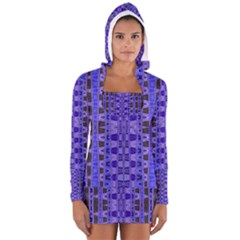 Blue Black Geometric Pattern Women s Long Sleeve Hooded T Shirt