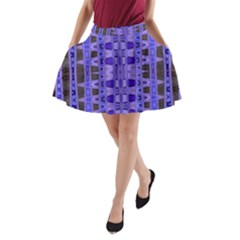 Blue Black Geometric Pattern A-Line Pocket Skirt