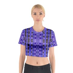Blue Black Geometric Pattern Cotton Crop Top