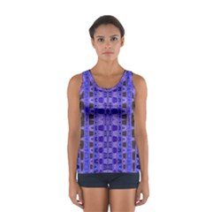 Blue Black Geometric Pattern Tops