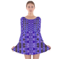 Blue Black Geometric Pattern Long Sleeve Velvet Skater Dress
