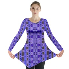 Blue Black Geometric Pattern Long Sleeve Tunic